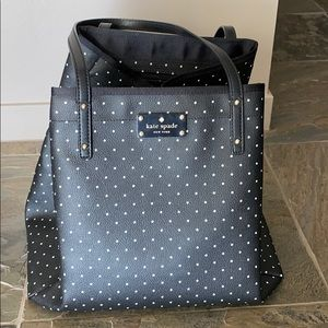 Black and white polka dotted Kate Spade tote